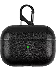Business Style Fashion Leather airpods Pro Case Cover Shockproof anti-Water Case - black