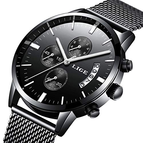 Watch Men Casual Stylish Stainless Steel Watch with Milanese Mesh Band, Waterproof Black Multifunctional Watch for Men]()