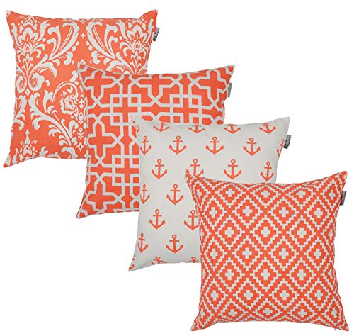 ACCENTHOME Accent Home Square Printed Cotton Cushion Cover,Throw Pillow Case, Slipover Pillowslip for Home Sofa Couch Chair Back Seat,4pc Pack 18x18 in Coral Color - The Color Coral