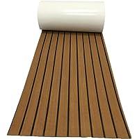 Hemoton Eva Faux Teak Boot Decking Sheet Marine Teak Vloeren Tapijt Niet-Zelfklevende Boot Vloeren Pad Voor Schip Board…