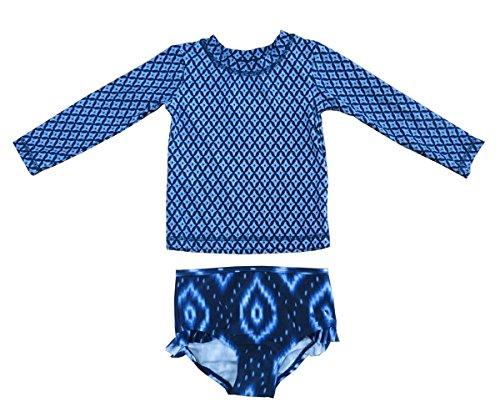 JOY Swimsuit for Baby Boy Girl Long Sleeve Bathing Suit UPF 50+ Sun Protection 2 Piece Swimwear Rash Guard Athletic Suits Blue