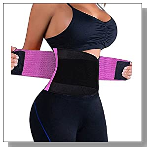 VENUZOR Waist Trainer Belt for Women - Waist Cincher Trimmer - Slimming Body Shaper Belt - Sport Girdle Belt (UP GRADED) (Purple, XX-Large)