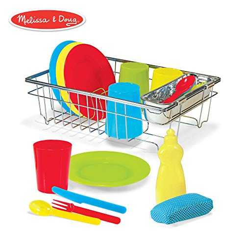 (Melissa & Doug Let's Play House! Wash & Dry Dish Set, 4 Place Settings, Use with Kitchen Set or Stand-Alone, 24 Pieces, 4