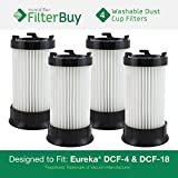 4 - Eureka DCF-4 (DCF4) DCF-18 (DCF18) & GE DCF-1 (DCF1) Washable and Reusable Dust Cup Filters. Designed by FilterBuy to Replace Eureka Part # 62132.