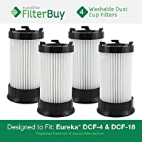 4 - FilterBuy Eureka DCF-4 (DCF4) DCF-18 (DCF18) & GE DCF-1 (DCF1) Washable and Reusable Compatible Dust Cup Filters. Designed by FilterBuy to Replace Eureka Part # 62132.