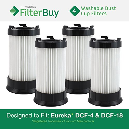 4 - FilterBuy Eureka DCF-4 (DCF4) DCF-18 (DCF18) & GE DCF-1 (DCF1) Washable and Reusable Compatible Dust Cup Filters. Designed by FilterBuy to Replace Eureka Part # 62132. -