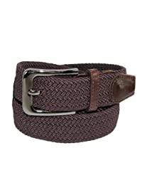 CTM® Men's Elastic Braided Stretch Belt with Silver Buckle, M 34-36, Brown