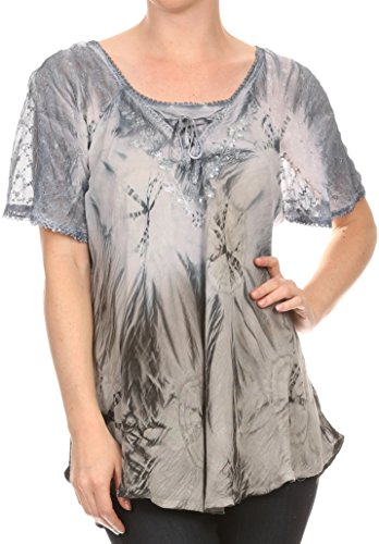 Corset Floral Embroidered (Sakkas 16480 - Taylay Ombre Tie Dye Batik Long Embroidered Corset Neck Blouse Shirt Top - Grey - OS)