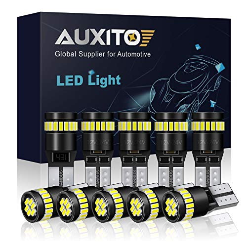 AUXITO 194 LED Light Bulb 6000K White Super Bright 168 2825 W5W T10 Wedge 24-SMD 3014 Chipsets LED Replacement Bulbs Error Free for Car Dome Map Door Courtesy License Plate Lights (Pack of 10)