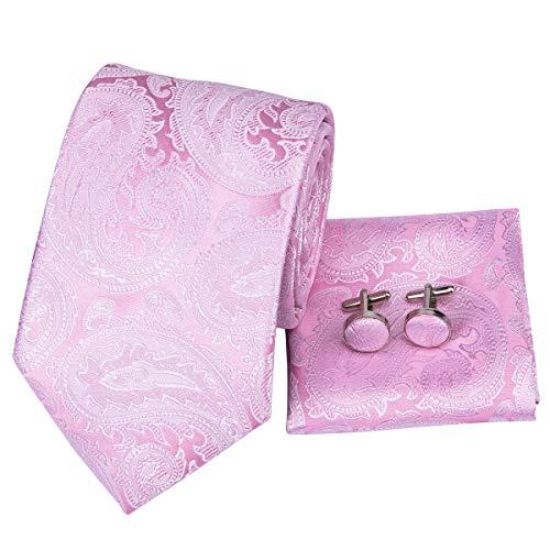 (Hi-Tie Men Classic Pink Paisley Floral Tie Necktie with Cufflinks and Pocket Square Tie Set)