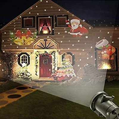 ESUN Christmas Laser Projector Lights, Halloween Outdoor Laser Light, LED Rotating Projector with 12 Replaceable Colorful Slides, Waterproof Snowflakes Spotlight for Festival Party Garden Yard