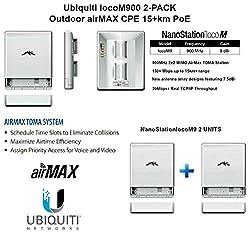 Ubiquiti Locom9 2-pack Nanostation Loco M900 900mhz Outdoor Airmax Cpe 15+km Poe