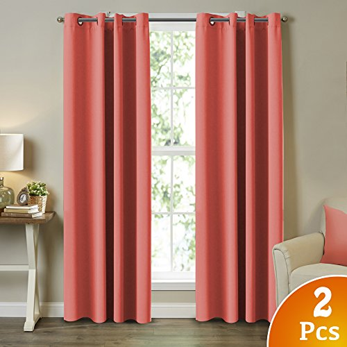 Turquoize Blackout Curtains Energy Efficient Solid Coral Curtains for Girls Room Thermal Insulated Curtain Panels, Coral Drapes for Kids Room, Solid Grommet Design, 2 Panel Set, 52