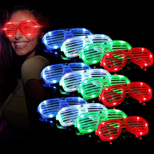 (M.best Unisex Flashing Plastic Glow LED Light Up Shades Show Toy Glasses Party Favors Supplies Set of)