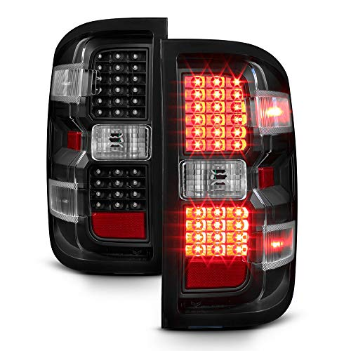 ACANII - For Black 2014-2017 Chevy Silverado 1500 2500 HD 3500 HD LED Tail Lights Brake Lamps