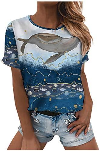 Comie Tshirt voor dames kort shirt elegant shirt met korte mouwen blouse casual ronde hals bovenstuk losse tuniek pullover sweatshirt korte mouwen modieus korte mouwen blouse zomer print Tshirt