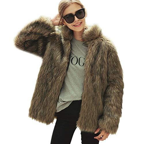 Eleganti Lanceyy Comodo Taglie Braun Giacca Pelliccia Invernali Cappotti Vintage Donna Forti Fashion Caldo Coat Stlie Grazioso Cappotto Finta Giorno Casual FIqrF