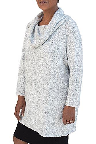 - Van Klee Boucle Cowl Neck Pullover Tunic (Light Gray)