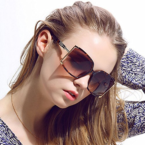 Aisa Women's Oversized Sunglasses 2016 New Fashion Square Frame Eyewear Goggles UV400 Protection Tortoise shell