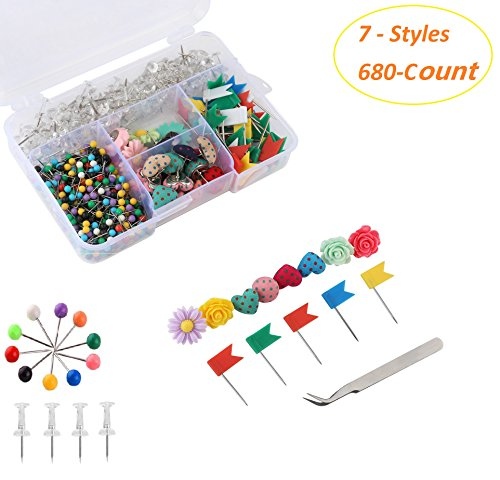 Push Pins Set of 680 Count Various Practical and Decorative Pushpins/Thumbtacks for Home or Office Organization, Colorful for Cork Board, Bulletin Board and Map Locationing (Cute Bulletin Boards)