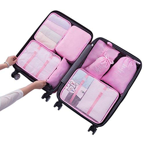 Belsmi 8 Set Packing Cubes - Waterproof Mesh Compression Travel Luggage Packing...
