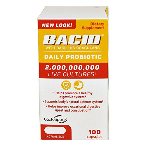 (Bacid Daily Probiotic with Bacillus Coagulans for Digestive Health | 100 Capsules )