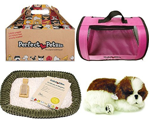 ing Shih Tzu Plush with Pink Tote For Plush Breathing Pet ()