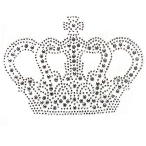 Rhinestone Iron on Transfer Hot Fix Motif Fashion Silver Crown Design 3 Sheets 5.5*3.9 Inch