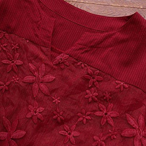 Chemisier Rond Tank Top Shirt Floral Haut Longra Longue Bouffant Dentelle Bohme Loose Femmes Rouge T Dcontracte Femmes Tops Col Chic Broderie Manche Crop Shirt Vintage Tops Tee Blouse zzqgnPw0