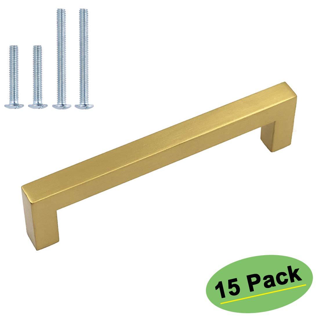 homdiy 5in Cabinet Pulls Gold Cabinet Handles 15 Pack - HDJ12GD Cabinet Drawer Pulls Metal Cabinet Handles Dresser Drawer Handles for Kithchen, Bathroom, Closet,Wardrobe