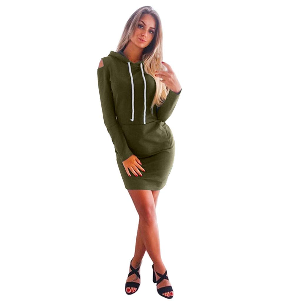 Mlide Women Off-The-Shoulder Mini Dress With Pocket,Long Sleeve Strapless Hooded A-Line Dress(Army Green,Medium)