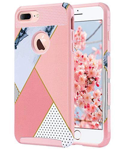 iPhone 7 Plus Case, ULAK Knox Armor Slim Dual Layer Protection Scratch Resistant Hard Back Cover Shock Absorbent TPU Bumper Case for Apple iPhone 7 Plus 5.5 inch-Pink Geometric Marble