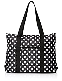 Ever Moda Polka Dot Extra Large Tote Bag with Coin Purse, Black and White