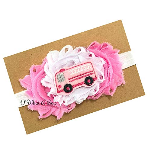 Pink Firetruck Headband for Baby Girl Toddler Handmade