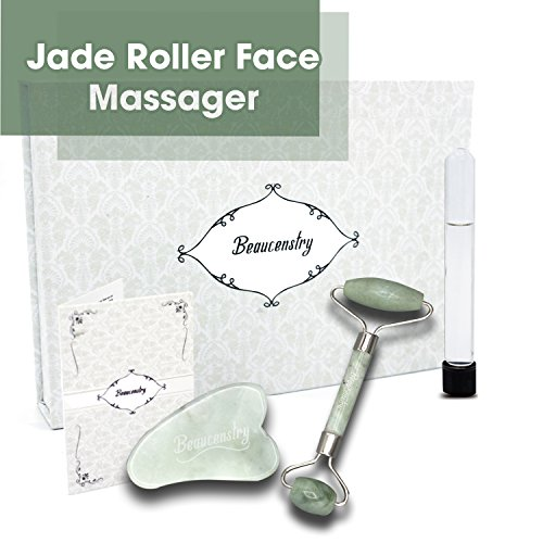 Jade Roller Face Massager Anti Aging Facial Therapy 100% Natural Jade Roller For Face Gua Sha Stone Double Neck Slimming Massager Rejuvenating Gift Boxed + Extra Gift Included