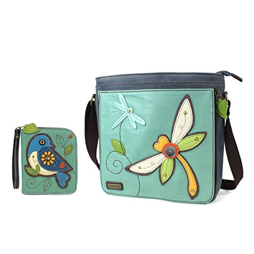 Chala Handbag Vegan Leather DELUXE Messenger Bag with Matching Wallet Combo (Dragonfly + Blue Bird Wallet Combo) (Dragon Leather Green)