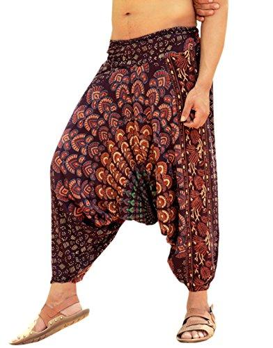 Sarjana Handicrafts Mens Womens Rayon Mandala Pockets Harem Pants Yoga Drop Crotch Trouser (Brown) (Harem Pants For Men)