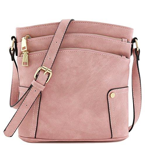 (Triple Zip Pocket Medium Crossbody Bag (Dusty Pink))