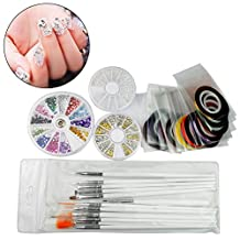 Marrywindix 15 Nail Brush, 12 Colors Nail Rhinestones, 30 Rolls Nail little pearls 3D Nail Art Tape and Gold / Silver Studs, A box of white pearls