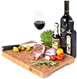 Thick End Grain Bamboo Wood Cutting Board/Kitchen Butcher Block - Heavy Duty Chopping Board With Juice Grooves and Handles. Best for Carving Meat, Fish and Chicken   Perfect House Warming Gift