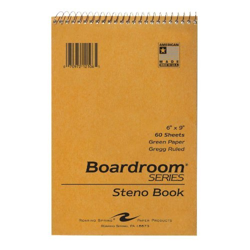 Roaring Spring Steno Notebook with Green Paper, 6 x 9 Inches, 60 Sheets, Gregg Ruled, Brown Kraft Covers (12106) by Roaring Spring