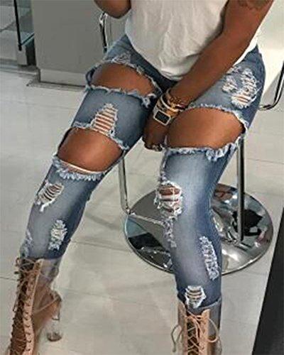 Jeans Femmes genoux Jeans denim Clair trou dchirs taille en Pantalons Bleu aux haute Slim pwqSdgwB