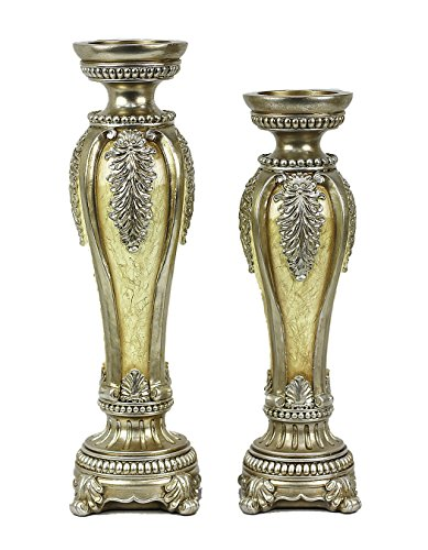 D'Lusso Designs Ivoria Design Two Piece Hurricane Candlestick Set