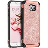 Galaxy S6 Case, Samsung S6 Case, BENTOBEN 2 in 1 Luxury Glitter Bling Hybrid Slim Hard PC Cover with Sparkly Shiny Faux Leather Chrome Shockproof Protective Case for Samsung Galaxy S6 G920, Rose Gold