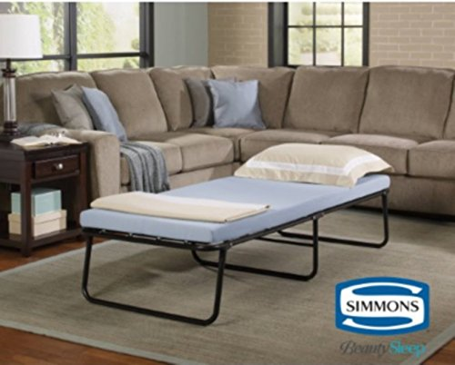 Simmons Folding Foldaway Extra Portable Guest Bed Cot with Memory Foam Mattress, twin (twin)