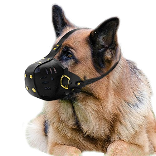 PET ARTIST Genuine Leather Dog Muzzle Adjustable for Medium and Big Dog by PET ARTIST