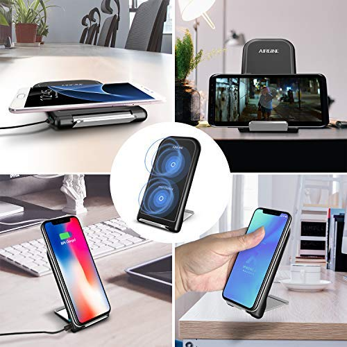 Stand Wireless Charger, AIRGINE QI Certified Fast Wireless Charger Charging Pad Stand, Compatible for iPhone X, iPhone 8/8 Plus, Samsung Galaxy S9/S9+, S8/S8+, Note 9, Note8 (No AC Adapter)