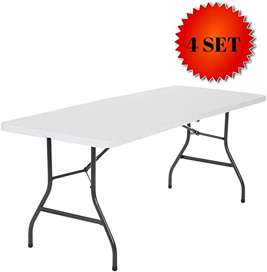 Cosco Deluxe 6 foot x 30 inch Fold-in-Half Blow Molded Folding Table Black