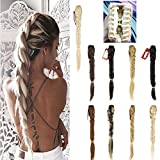 FOCUSSEXY 21'' Inches Long Fishtail Braid Ponytail Synthetic Extension Clip in Ponytail Fishtail Plait Hairpieces with a Jaw/Claw Clip(Sliver Grey)