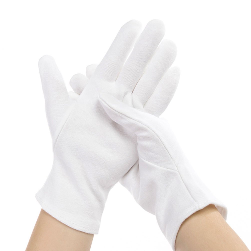 12 Pairs Cotton Gloves for Hands Cosmetic Moisturizing Spa, Eczema Treatment, Jewelry Inspection, Party Wearing for Women